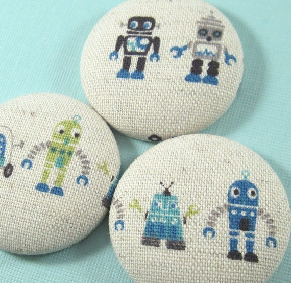 Robot. . . 3 Jumbo Fabric Magnets