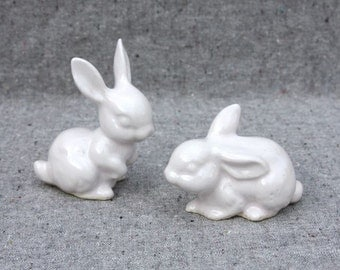 Two Little Bunnies in Stoneware with White Glaze - Wedding Cake Topper