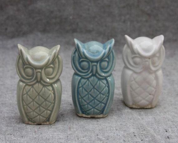 Three Little Owls in Stoneware with Pale Green, Light Turquoise, and White Glaze