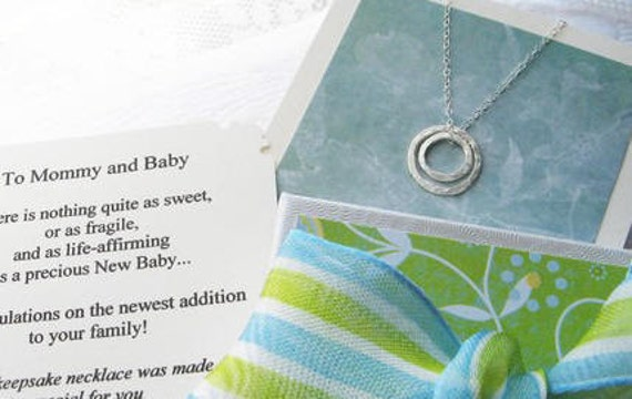 To Mommy and Baby - Sterling Silver New Mom Jewelry for New Mom Necklace Mom To Be Poem Note Card Included - Baby Shower Gift