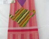 Tea Towel   Pink Waffle Appliqued  (182)