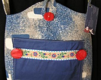Bag  Blue Barkcloth Shoulder Bag   (15)