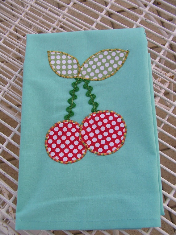 Tea Towel Aqua with Cherries  (379)