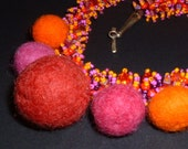Bright Pink and Orange Felt and Woven Bead Necklace, Original, One of a Kind