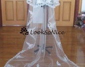CUSTOM MADE 2 tier Cathedral length Alencon Lace Veil