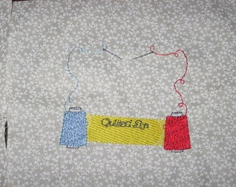 Blue and Red Thread Quilt Labell, Machine Embroiderd, Free Shipping in US only