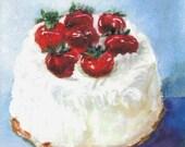 STRAWBERRY CREAM CAKE - Original Pop Art Print by Rodriguez