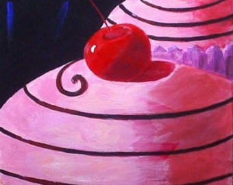 Pop Art Painting - PINK WHIRL CUPCAKES - Art by Rodriguez - Poster Size Wall Hanging