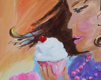 Pop Art Painting * Cupcakes In The Wind * Original Art by Rodriguez * Dessert Art * Wall Hanging