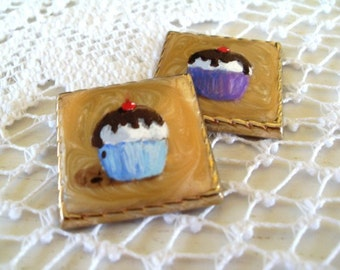 Refrigerator Magnets / Hand Painted CUPCAKES On Vintage Jewelry / Set of Two Magnets