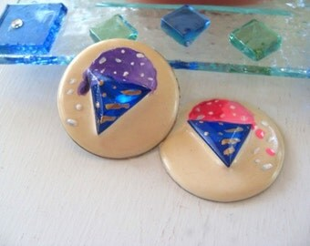 Refrigerator Magnets * ICE CREAM CONES * Hand Painted on Vintage Jewelry One Of A Kind