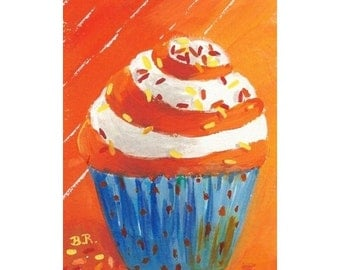 Original ACEO Mini Painting CUPCAKE CREATION Small Art Format by Rodriguez