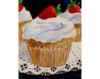 Original Mini Painting STRAWBERRY GLOW Cupcake * Dessert Series * ACEO Small Art Format by Rodriguez