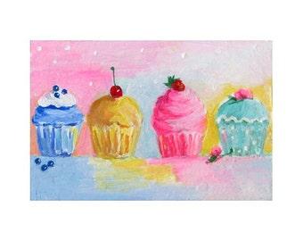 Mini Painting * Teacup Art * Original Art * PARTY CUPCAKES by Rodriguez * Dessert Art