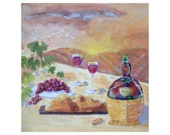 Original Painting - ITALIAN SCENE - Wine and Bread * Art By Rodriguez * Small Art Format