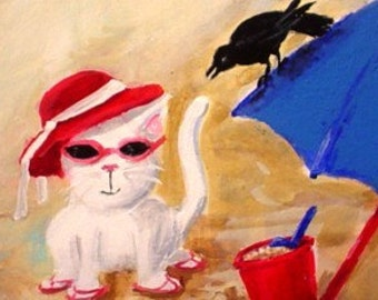 Original Mini Painting * BEACH CAT And Crow * ACEO * Small Art Format by Rodriguez * Cat Art * Cat Decor