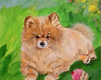 Original Painting * POMERANIAN DOG With CUPCAKE Toy * Small Art Format Art by Rodriguez