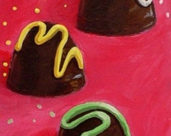 THREE CHOCOLATES - Original Dessert ACEO Mini Painting by Rodriguez
