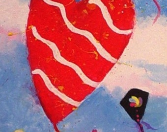 KITES In The WIND - Original Mini ACEO Painting by Rodriguez
