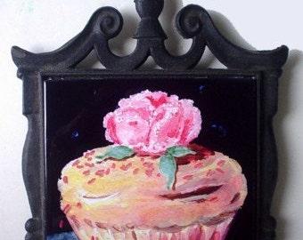 CUPCAKE Trivet With Original Art *PINK ROSE * Art By Rodriguez