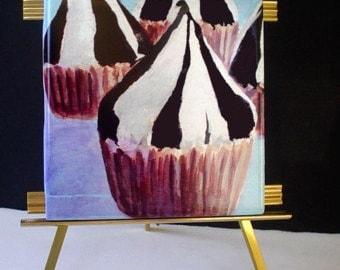 Ceramic Tile / Coaster * CHOCOLATE KISS CUPCAKES * Fine Art Tile by Rodriguez * Kitchen Decor