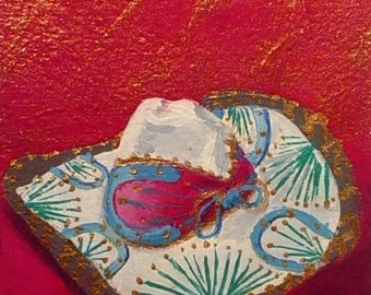 Original Painting * MEXICAN SOMBRERO *  ACEO Mini Paintig * Small Art Format by Rodriguez