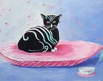 Original Painting * Wood Plaque * FANTASY DIVA CAT * Small Art Format * Art By Rodriguez