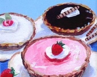 Fine Art Coaster / Ceramic Tile - Mini Pies - Art by Rodriguez - Kitchen Decor - Dessert Art