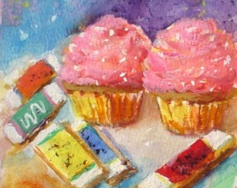 Original Watercolor Painting * CUPCAKES And ICED FINGER Cookies *  Art By Rodriguez * Small Art Format