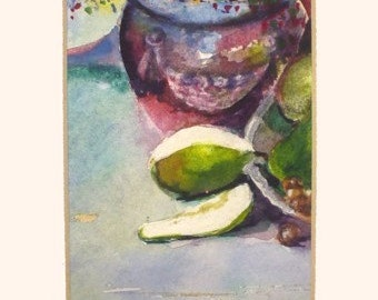 Original Watercolor Painting * PEARS On The  TABLE * Fruit Painting * Small Art Format * Art by Rodriguez