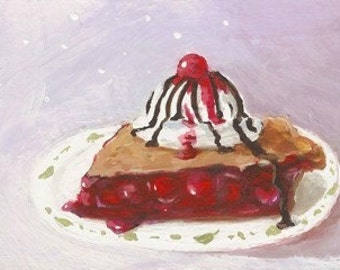 CHERRY PIE With Ice Cream - Original ACEO Mini Painting Art by Rodriguez