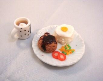 Dollhouse Miniature - Hamburger Steak Meal with Hot Chocolate