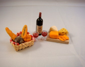 Dollhouse Miniature - Gourmet Wine with Bread and Cheese