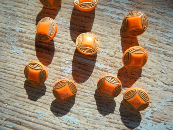 Vintage Orange Czech Glass Buttons
