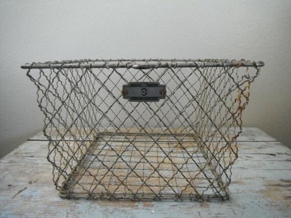 Industrial Vintage Locker Basket Number 9