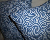 SUMMER SALE : Two Blue and White Paisley Decor Pillows