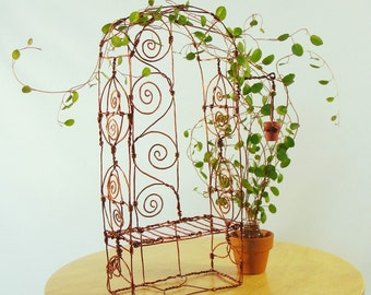 Miniature Copper Arbor Bench Wire Sculpture