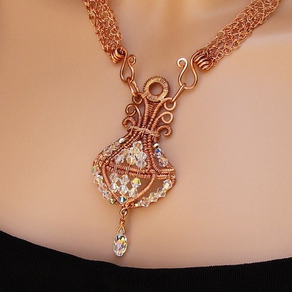 True Chandelier - Copper, Crystal, Wire Crochet, Wire Wrapped Statement Necklace