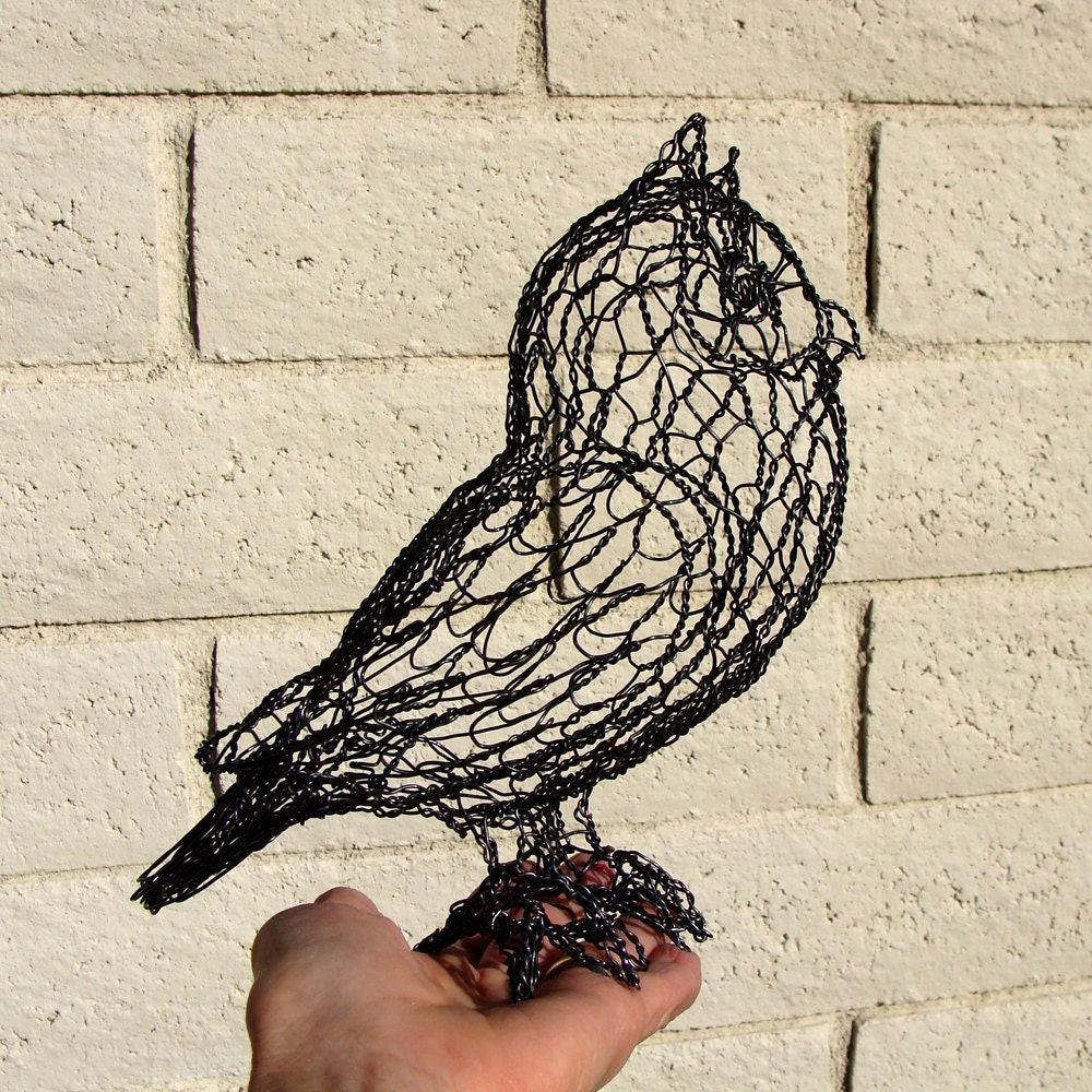 Turquoise Arm Chair Wire Screech Owl Sculpture RESERVED for KBH