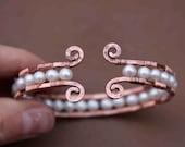 Copper and Pearl Cuff Bracelet