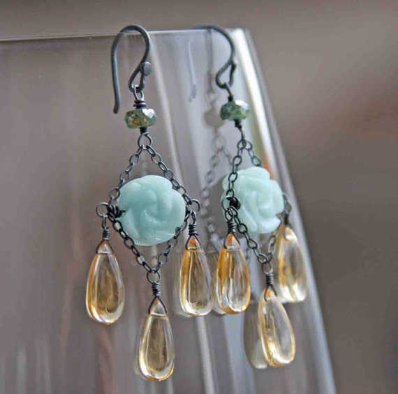 Carved Amazonite Green Ruby Citrine and Sterling Chandeliers