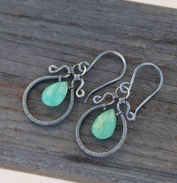 Chrysoprase and Sterling Silver Wire Wrapped Hoops