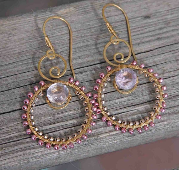 Pink Amethyst and Brass Hoops Destash