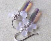 Milky miyuki and AB Swarovski column earrings