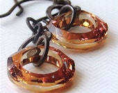 Ozone earrings with copper Swarovski rings