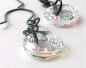 Ozone earrings with crystal aurora borealis Swarovski rings