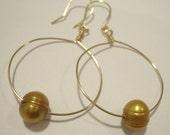 Gold pearl drop hoop earrings