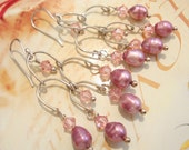 Victorian Style Pink Crystal and Pearl Sterling Chandelier Earrings