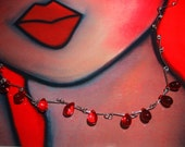 Red Hot Drops Sterling Silver Chain Necklace