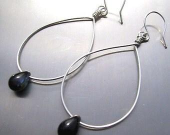 Lonely teardrops silver hoop earrings